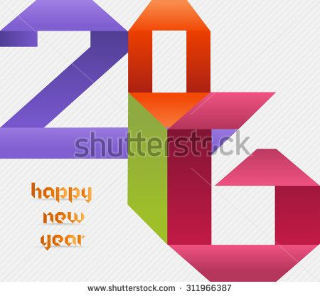 Creative happy new year 2016 colorful origami design