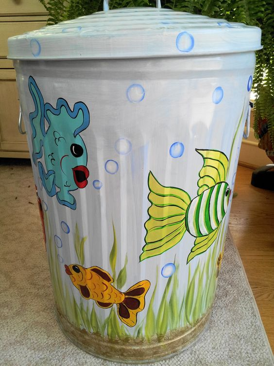Etsy Hand Painted And Painted Trash Cans On Pinterest
