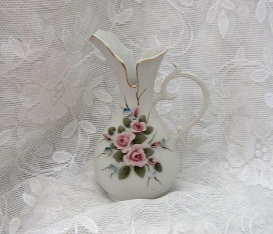 Hand Painted Kelvin Porcelain Pitcher Shaped Bud by myabbiesattic, $19.99