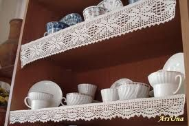 shelves with lace edgings