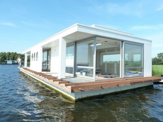 Modern Houseboat Floating Architecture Water House Houseboat