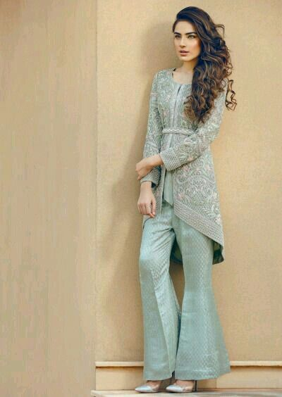 Stitching Styles Of Pakistani Dresses Blue Boot cut trouser