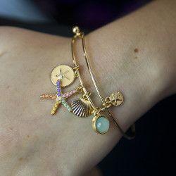Sea Life Charm Bangle Bracelet Gold Tone - Multicolor