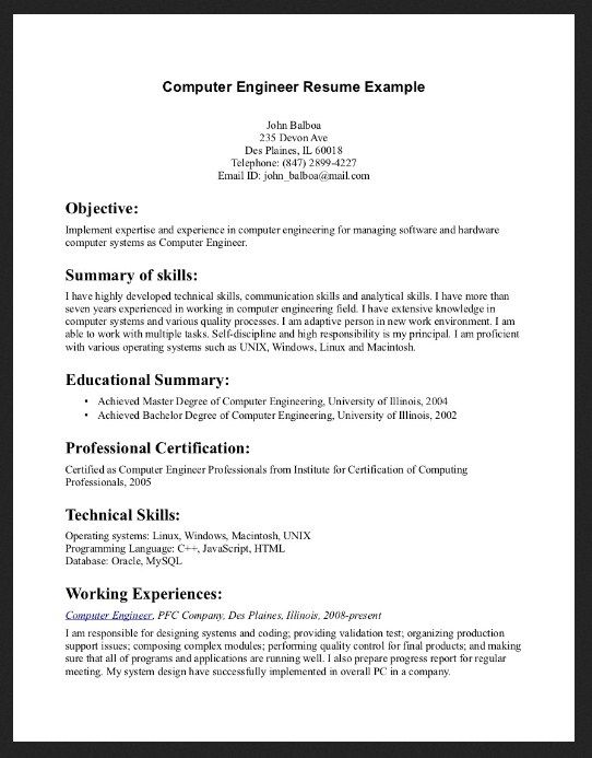 10 Example Resume For Computer Skills Resume Objective Examples Engineering Resume Resume Examples