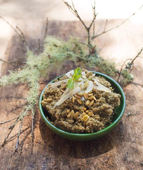 mint pesto quinoa via the forest feast