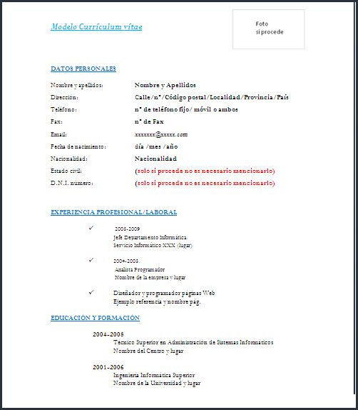 Simple En Word Modelos De Curriculum Vitae Curriculum