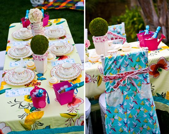 Stunning tablescape for 'Alice in Wonderland' themed bridal shower - Project Wedding