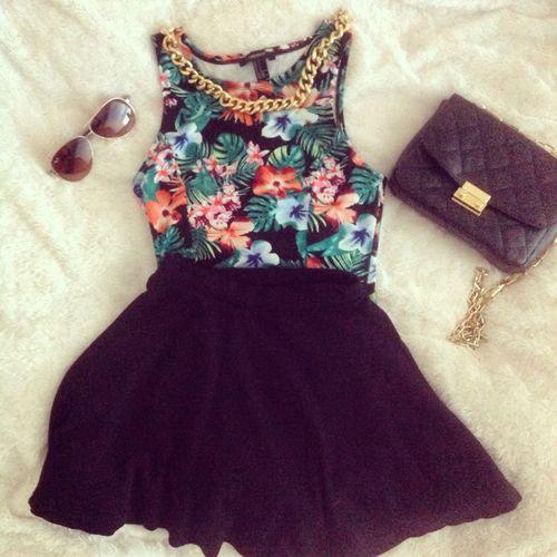 Tropical top, black skater skirt, purse, sunglasses, gold chain