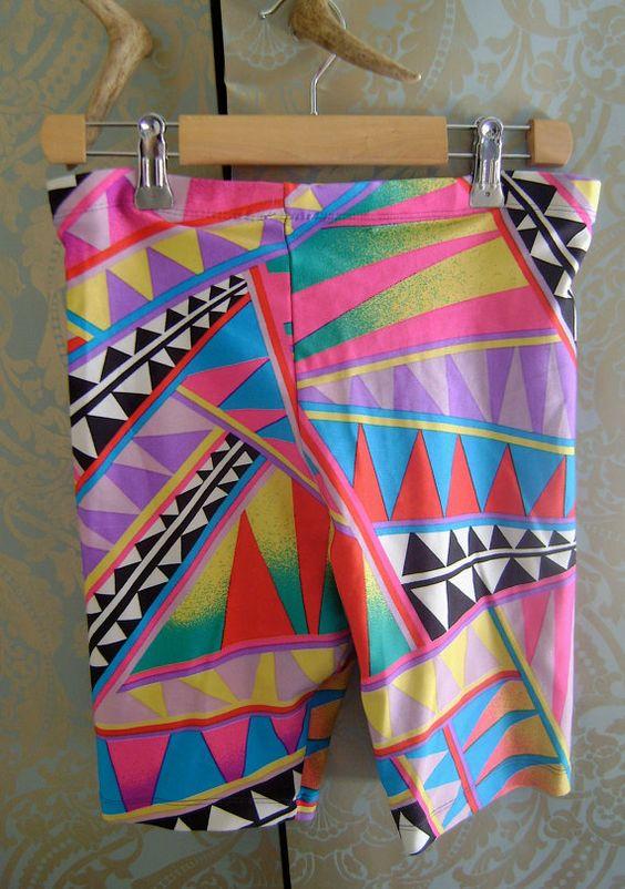 Vintage 80s 90s Neon Geometric Spandex Biking Shorts