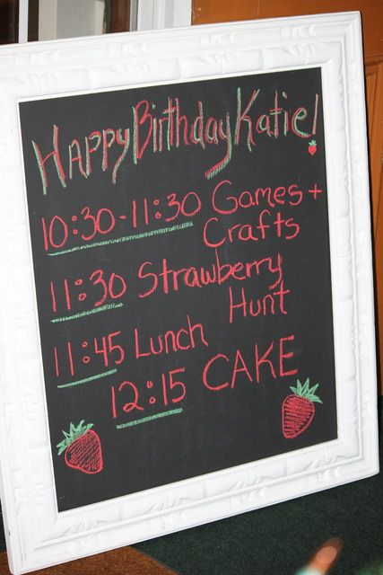 I love this idea of a party schedule!
