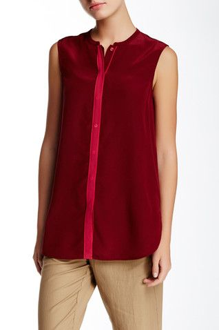 Color Tipped Sleeveless Silk Blouse