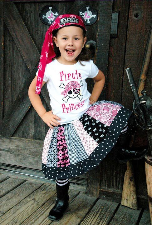 Pirate Princess Stripework Twirl Skirt by ChewChewsCloset on Etsy, $30.00