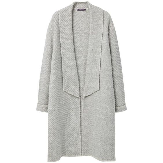 Violeta by Mango Stripe Textured Cardigan, Light Pastel Grey (£50) ❤ liked on Polyvore featuring tops, cardigans, plus size long sleeve tops, long sleeve cardigan, gray open front cardigan, wrap cardigan and grey cardigan
