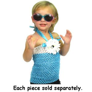 $5.75 Little Girl's Blue and White Crocheted Halter Top with Removable Flower