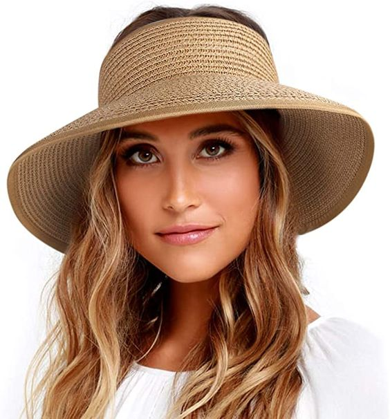 FURTALK Roll Up Sun Visor Wide Brim Straw Hats for Women Ponytail Summer Beach Hat UV UPF Travel Foldable Packable (One Size, Pure Khaki) at Amazon Women's Clothing store