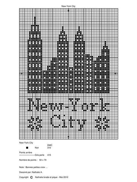 New York City Grille De Nathalie Brode Et Pique Muster Stricken Hakeln Grundlagen Kreuzstichmuster