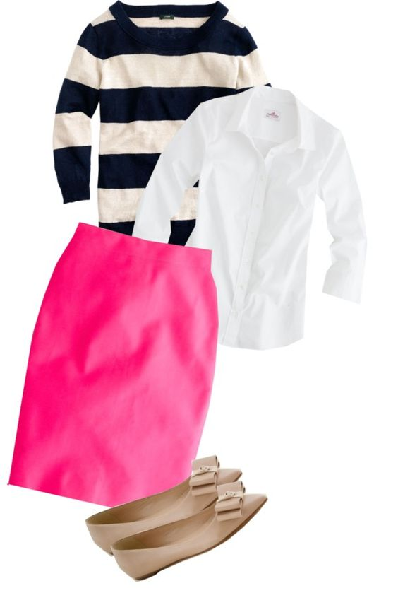 J. Crew Tippi Sweater in Linen Stripe, No. 2 Pencil Skirt in Neon Pink, and Viv Bow Flats in Wild Mushroom, created by jcrewismyfavstore on Polyvore