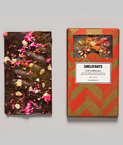 COCO BENGALA 65% cacao Santander con incrustaciones coco, jengibre cristalizado y curry