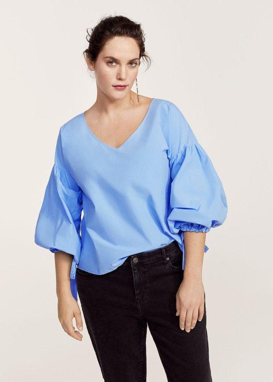 Puffed sleeves blouse -  Women | MANGO USA