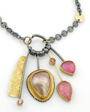 Sydney Lynch: Necklace with Cortez pearl, watermelon-pink sapphires, topaz, brown diamond.: