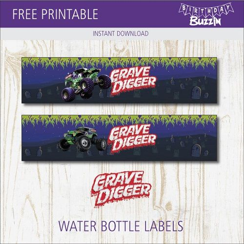 Free Printable Grave Digger Water Bottle Labels Birthday Buzzin Monster Trucks Birthday Party Monster Truck Theme Birthday Monster Truck Birthday