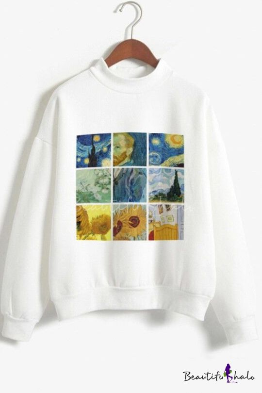 Hot Sale Long Sleeve Mock Neck Van Gogh Oil Painting Leisure