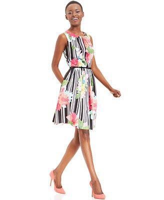Ellen Tracy Floral-Print Striped Belted Dress