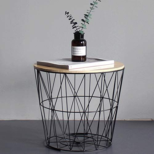 Zcx Nordic Wrought Iron Side Table Small Coffee Table Solid Wood