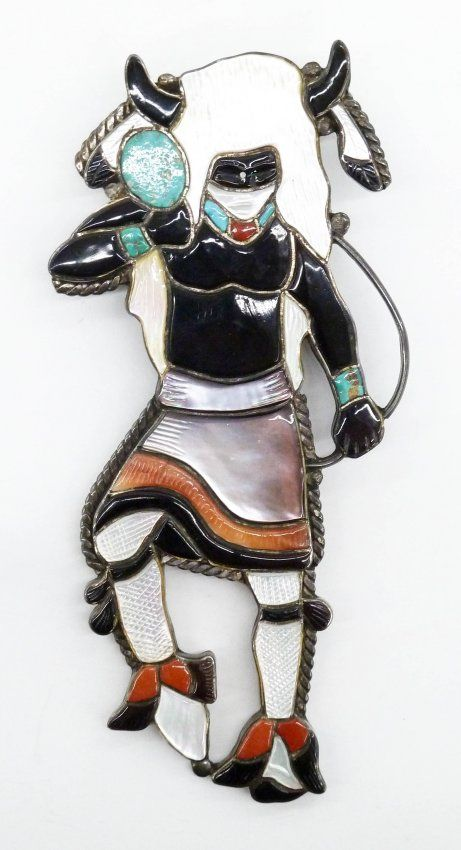 Virgil & Shirley Benn Zuni Figural Bolo Tie 5''x2.25''.