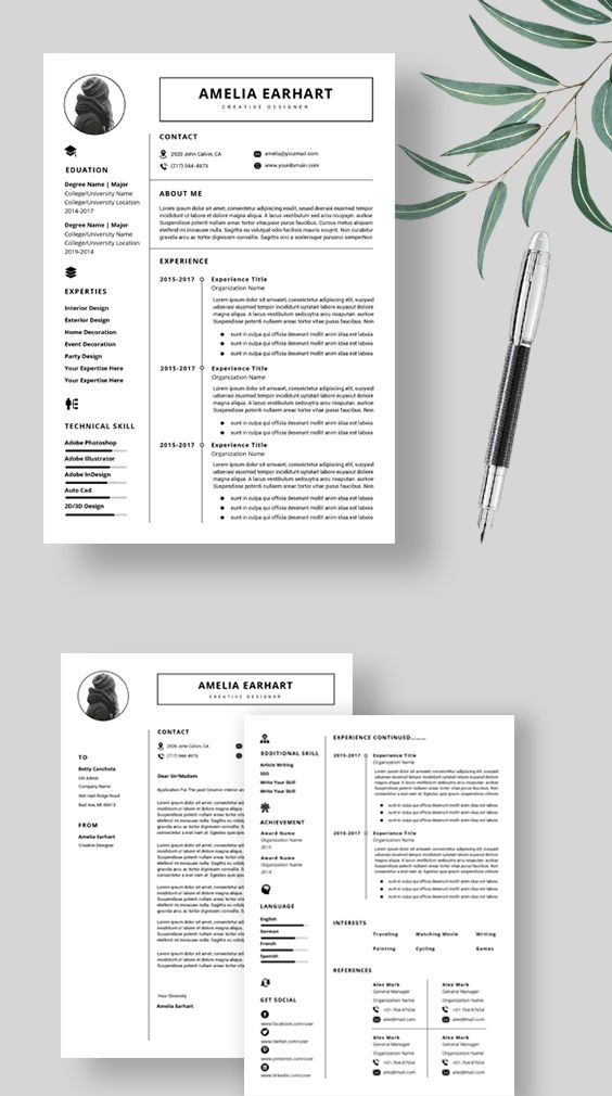 Resume Template Instant Download Professional Resume Etsy Resume Template Resume Template Professional Creative Resume Templates