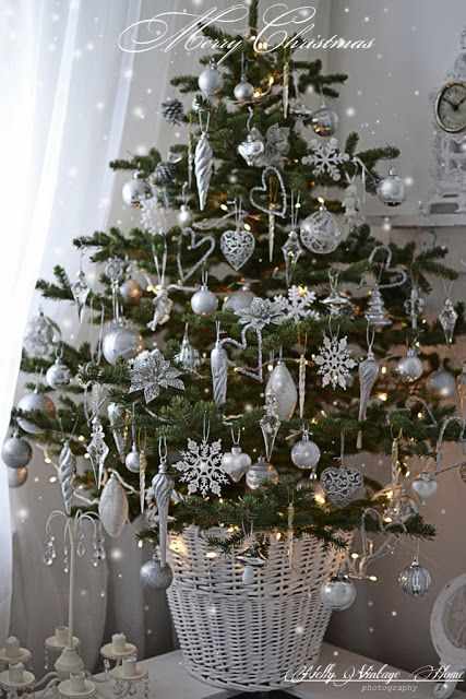 White painted wicker basket,nice, but add more white country ornaments, snowflake cut-outs~nelly vintage home