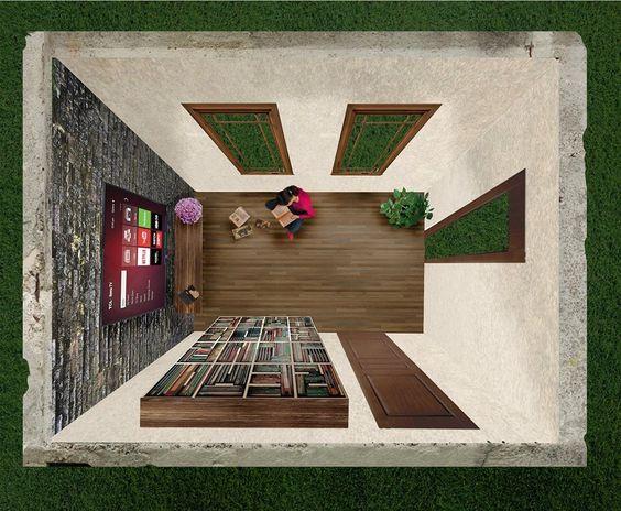 اظهار سماكة الجدران من خلال الفتحات وتظليل المستويات باعتبار ان مصدر الضوء خلف الناظرمن الجهة اليسرى ومعالجة المنطقة الخارجية بعض الشيء: