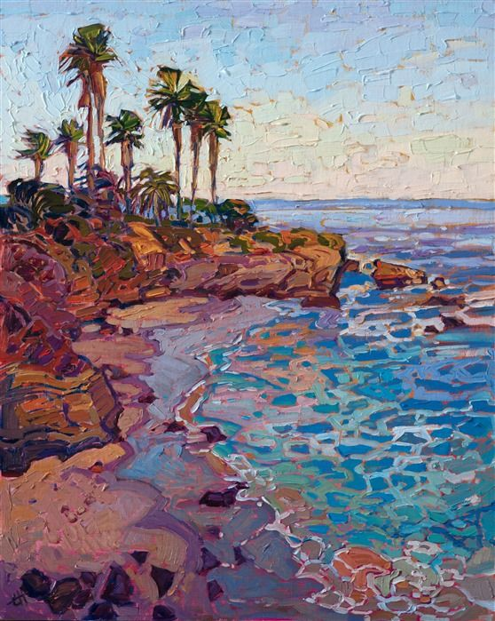 La Jolla Cove Oil Painting Of Coastal Landscape By Local San