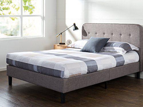 Zinus Melodey Upholstered Curved Platform Bed Mattress
