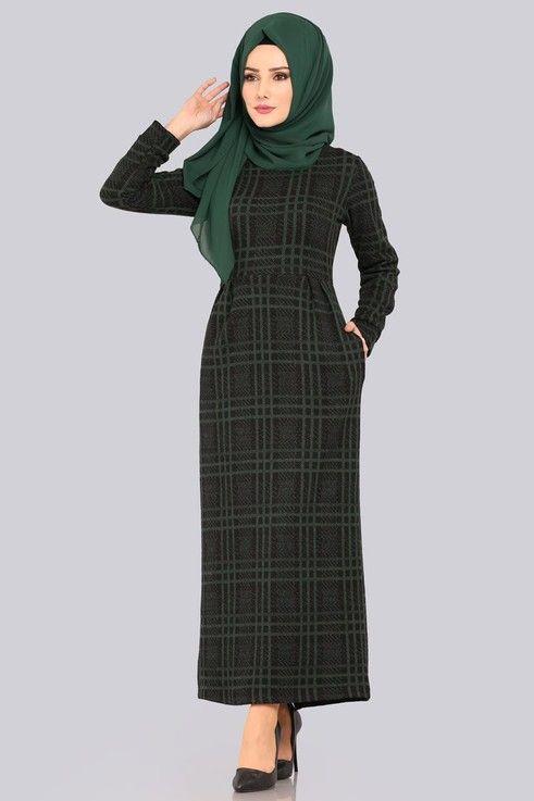 Modaselvim Elbise Ekose Pileli Elbise Ukb2043 Zumrut Basortusu Modasi Elbise Moda Stilleri