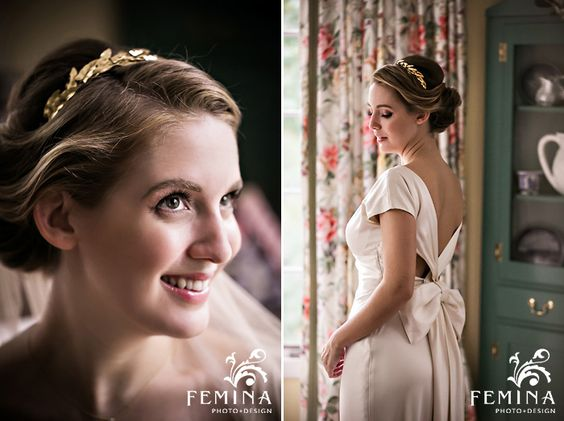 Classic Bride, Gold Leaf Bridal Headpiece & Wedding Dress Bow. LOVE!!! (feminaphoto.com)