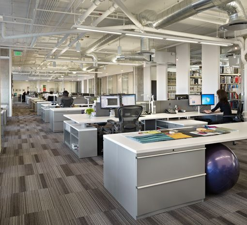 Superb Commercial Office Design...the Carpet Allows A Flow Through The Office And  The Overhead Pipes Give The Area An Industrial Feel | :OFFICE: | Pinterest  | Open ...