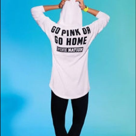 Spotted while shopping on Poshmark: Go pink or go home varsity hoodie! #poshmark #fashion #shopping #style #PINK Victoria's Secret #Sweaters