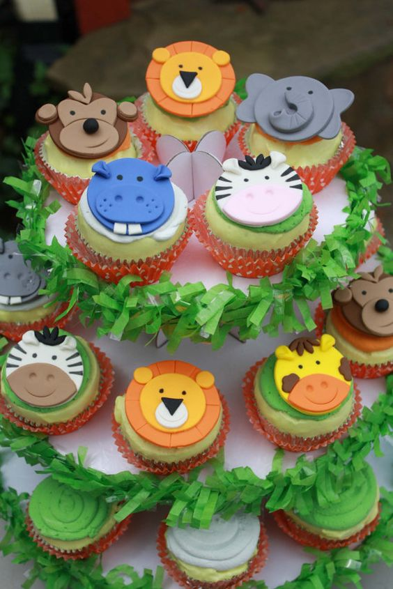 Fondant Jungle Animal Cupcake Toppers, Safari Cupcake Toppers, Zoo Cupcake…: