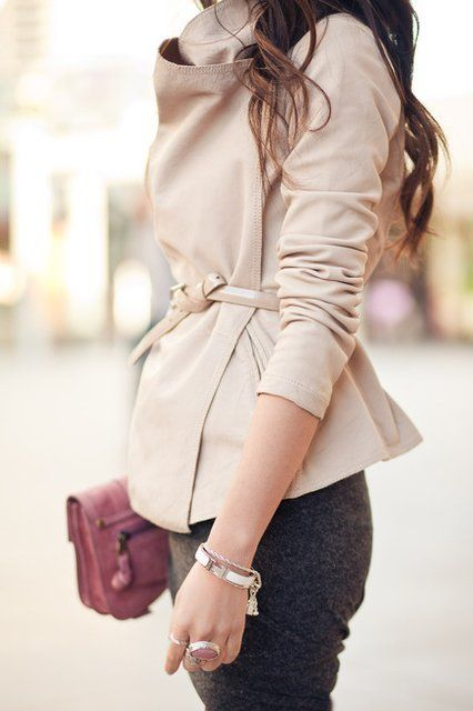 Carmine Leather Jacket - buttery leather feminine cut and pale creamy color