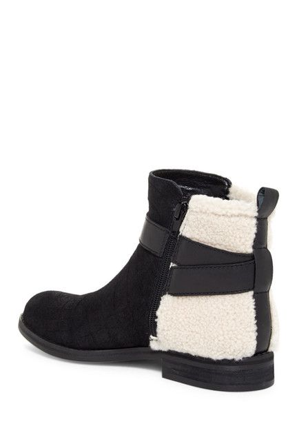 Kelsi Dagger Brooklyn Clermont Genuine Shearling Detail Croc Embossed Suede Bootie
