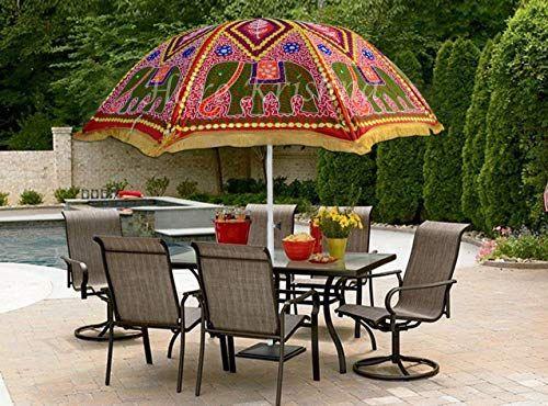 New Hare Krishna Red Elephant Outdoor Garden Umbrella Patio Cotton