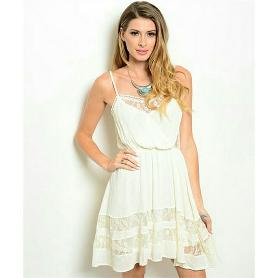 1LEFT! Cream Lace Dress Perfectly lacey for layering. Available in S,M,L 100% POLYESTER  *30% bundle discount! *Price Firm Dresses