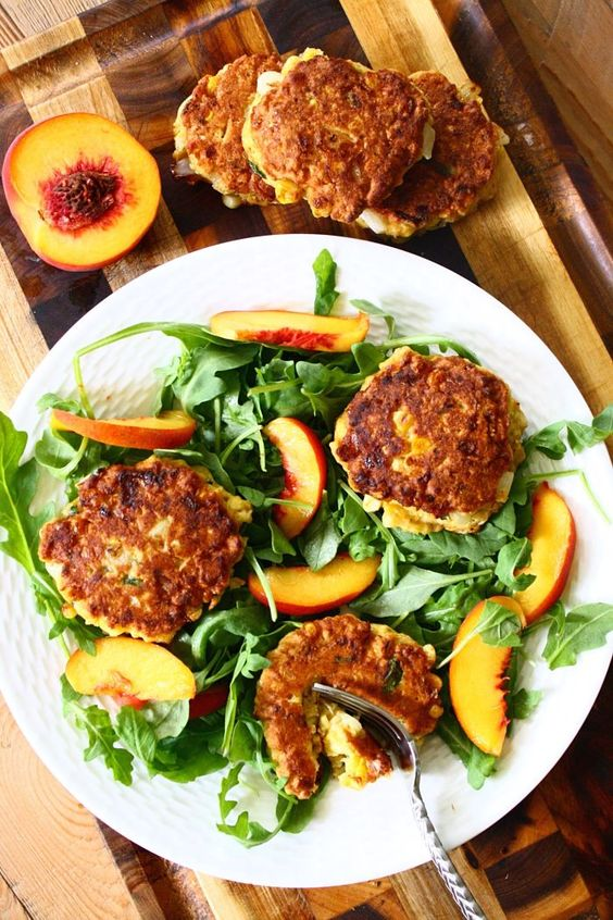 Corn Cake Summer Salad with Arugula and Sweet Peaches