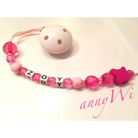 Schnuller schnullerkette Name Baby rosa pink diy