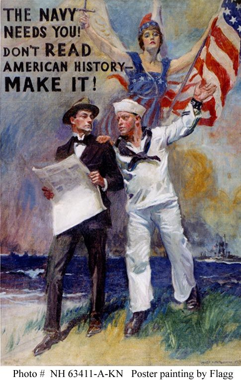 This was the original artwork of  James Montgomery Flagg for a World War I Navy recruiting poster.  It was photographed following restoration in 1986.