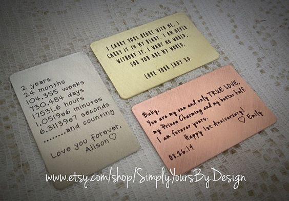 4 Year Wedding Anniversary Gifts For Men: Custom Wallet Card,Metal Wallet Insert,Engraved Wallet