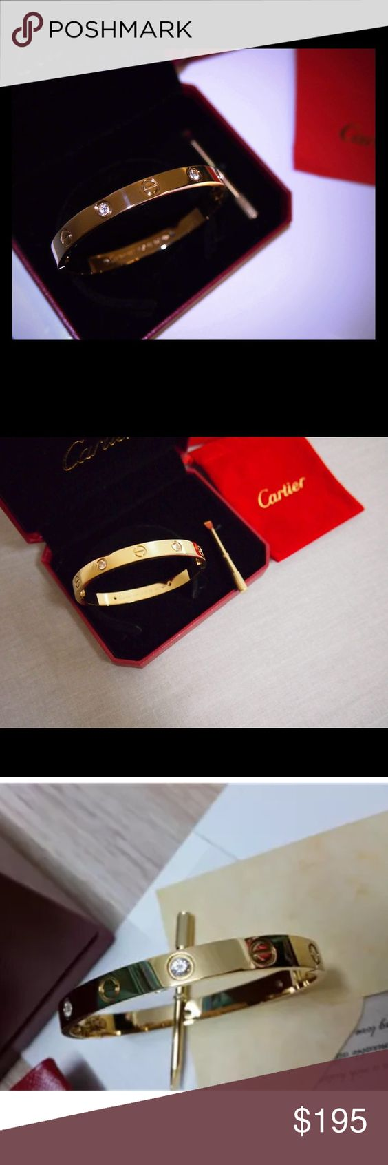 Cartier love bracelet 18k new Amazing Cartier love bracelet 18k over sterling 100%, dust bag for cleaning, box,shopping bag,screwdriver and paper work You will love it Cartier Jewelry Bracelets