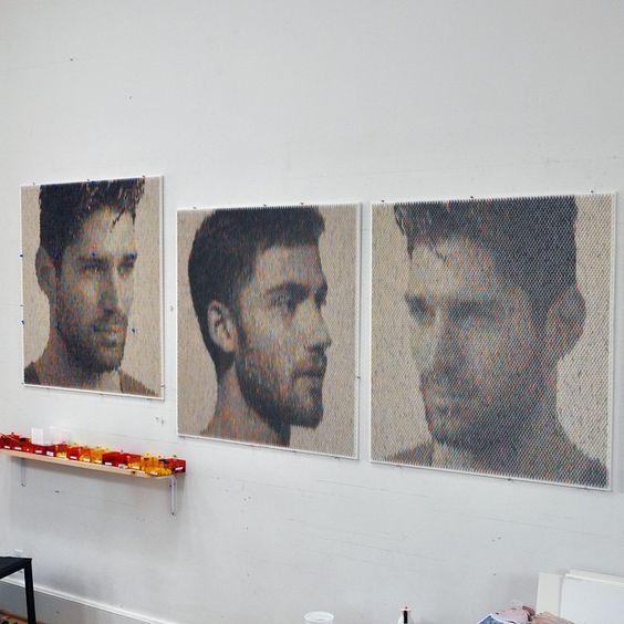 7th portrait complete at left. Reversed image. 42x42ins (106.5x106.5cm). #deadlines#greatesthits#art#petercombe#makeportraits#portrait#artwork#studio#detail#papercraft#paintchips#circles#discs#color#colore#colour#hue#hunk#spectrum#intensity#3D#contemporaryart#modernart#nofilter#philly#boston#pentimentigallery#lanouegallery#bayareaartist#arte