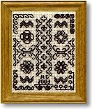 Blackwork DOLLHOUSE needlepoint sampler kit. Kit contains 28 count evenweave fabric. Blackwork became popular in England in the 1600's when England's monarchy had strong links with Spain, where blackwork had been popular for years. This sampler features examples of several traditional patterns, arranged around a central column. The chart for this design includes an alphabet and numbers 0 to 9, so that you can personalise it. Frame, included, measures 1.8 x 2.1 inches (4.5 x 5.5 cm).